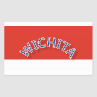 Wichita Red and White Rectangle Stickers