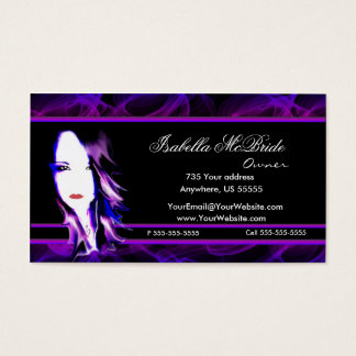 Wicked Black & Purple Hair Stylist Business Card