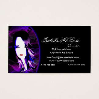 Wicked Black & Purple Hair Stylist Business Card 2