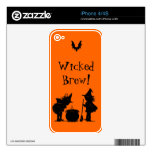 Wicked Brew Witches and Bat Halloween Skin Decal For iPhone 4