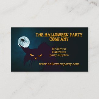 Wicked Cat Halloween Party Business Card