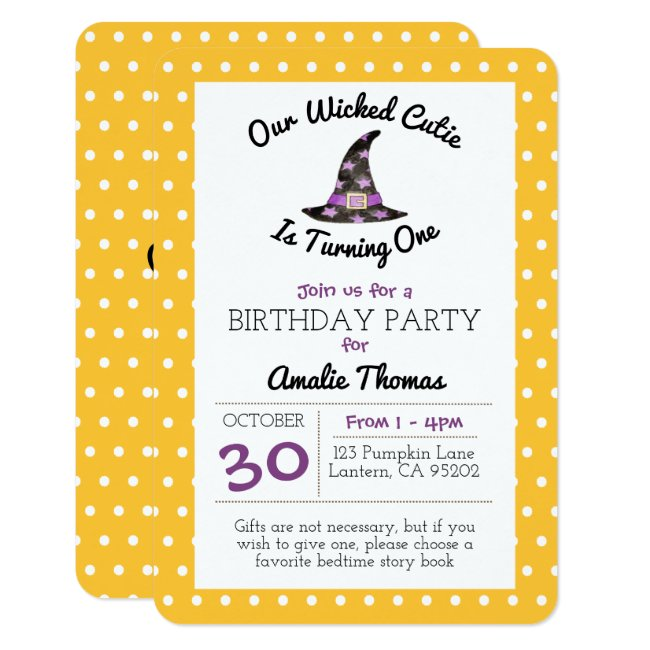 Wicked Cutie Orange Dot Child Birthday Small Invitation