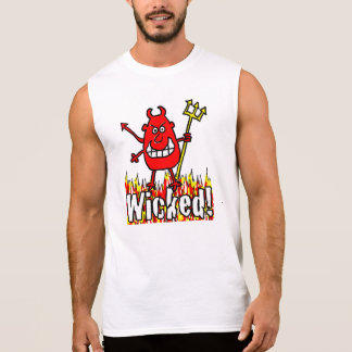 Wicked Devil with Flames Design Sleeveless Shirt