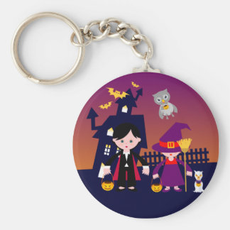 Wicked Dracula and Witch on Halloween Keychains