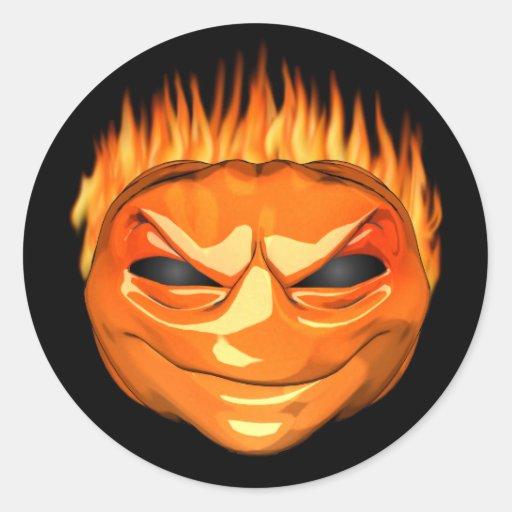 Wicked Flaming Jack O'lantern Stickers