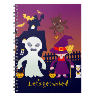 Wicked Ghost and Witch on Halloween Night Spiral Notebook