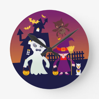 Wicked Ghost and Witch on Halloween Night Round Clock