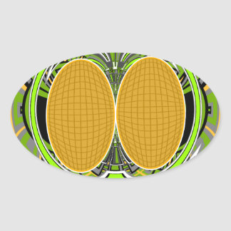 Wicked green and yellow superfly skateboard design oval sticker