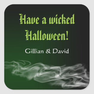 Wicked green smoke gothic happy halloween favor square sticker