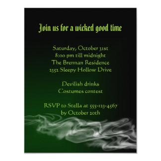 Wicked green smoke Halloween gothic invitation