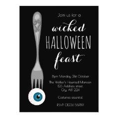 Wicked Halloween feast party invitation black