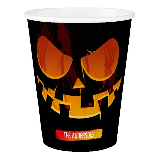 Wicked Jack-O-lantern Pumpkin Face Halloween Party Paper Cup