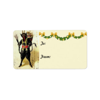 Wicked Krampus Demon Holiday Christmas Gift Tags Label