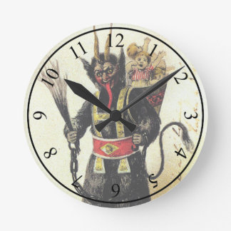 Wicked Krampus Scary Demon Holiday Christmas Xmas Round Clock