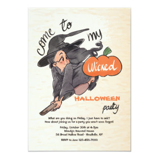 Wicked Little Witch Halloween Invitation