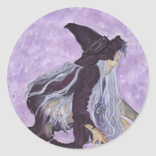 wicked moon witch classic round sticker