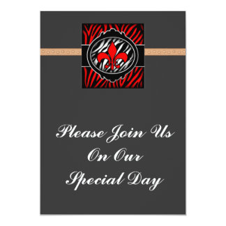 wicked red zebra fleur de lis symbol card