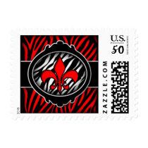 wicked red zebra fleur de lis symbol postage