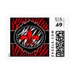 wicked red zebra fleur de lis symbol stamps