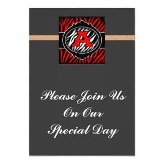 wicked red zebra initial letter A Invitation