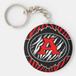 wicked red zebra initial letter A Keychain