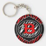 wicked red zebra initial letter B Keychain