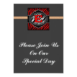 wicked red zebra initial letter E Custom Announcements