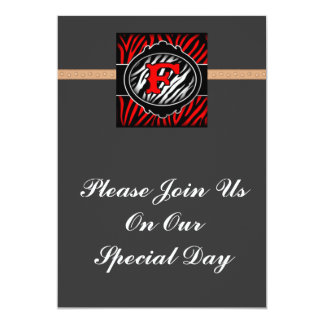 wicked red zebra initial letter F Custom Invitations