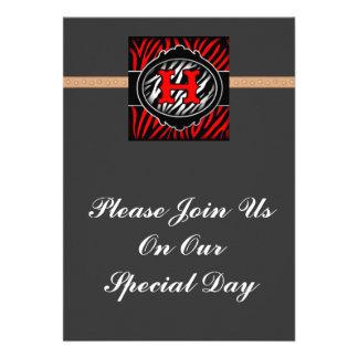wicked red zebra initial letter H Custom Invite