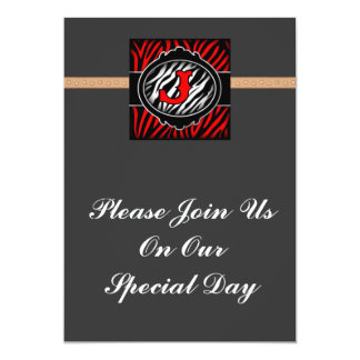 wicked red zebra initial letter J Invitations