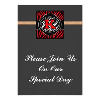 wicked red zebra initial letter K Custom Invites
