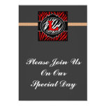 wicked red zebra initial letter L Personalized Invites