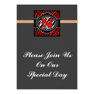 wicked red zebra initial letter N Personalized Invite