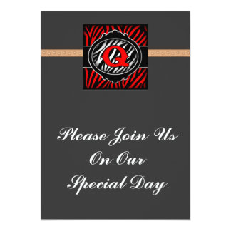 wicked red zebra initial letter Q Personalized Announcements