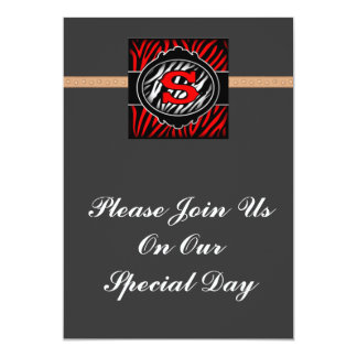 wicked red zebra initial letter S Custom Announcement