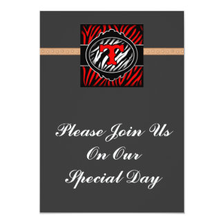 wicked red zebra initial letter T Personalized Invitation