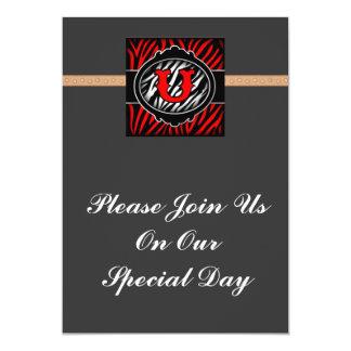 wicked red zebra initial letter U Custom Invitation