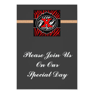 wicked red zebra initial letter X Personalized Invitation