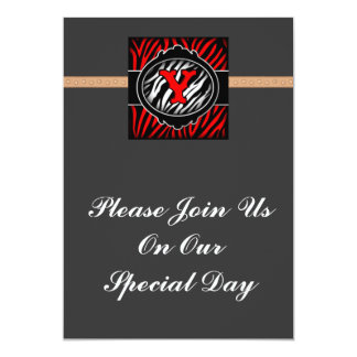 wicked red zebra initial letter Y Invites