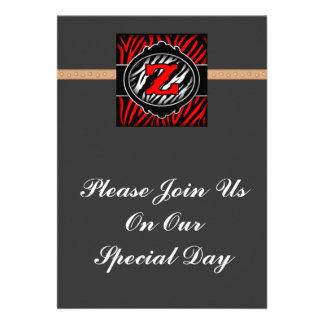 wicked red zebra initial letter Z Invite