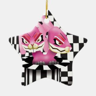 Wicked siamese rabbits and no magician ceramic ornament