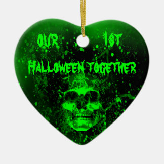 Wicked spooky green skull 1st Halloween together Double-Sided Heart Ceramic Christmas Ornament