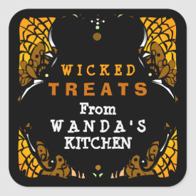 Wicked Treats Orange & Black Halloween Label Square Sticker