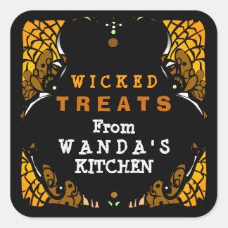 Wicked Treats Orange & Black Halloween Label Square Sticker