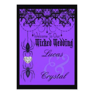 Wicked Victorian Spider Purple Halloween Wedding Card