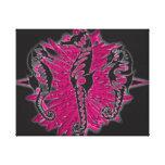 Wicked Waters Seahorses on Pink Seaweed Canvas Print
