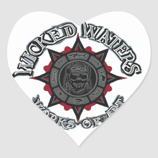 Wicked Waters works of art apparel, clothes, gifts Heart Sticker