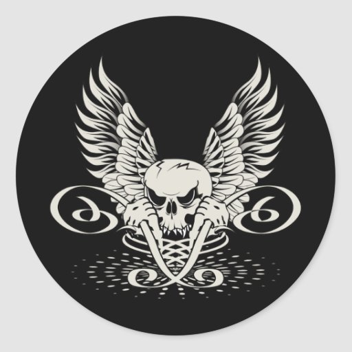 Wicked Winged Skull Round Sticker