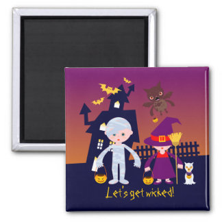 Wicked Witch and Mummy on Halloween 2 Inch Square Magnet