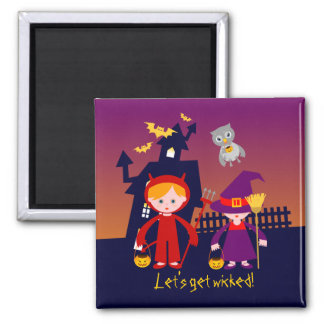 Wicked Witch and Red Devil on Halloween 2 Inch Square Magnet